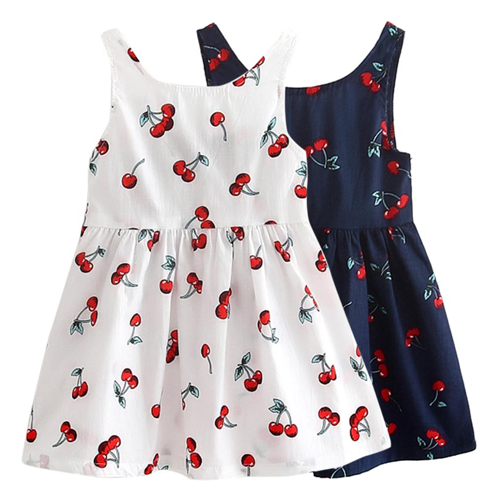 2-11Y Girls Clothing Summer Girl Dress Children Kids Berry Dress Back V Dress Girls Cotton Kids Vest dress Children Clothes