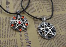 Star Supernature Movie Jewelry Unisex The Pentagram Necklace Pendant Red Black Collares 2015 men jewelry collier