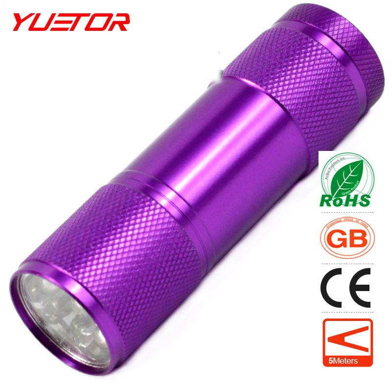 Brand YUETOR uv led flashlight 160lm mini aluminum portable uv flash light violet lght 9 led uv torch light lamp flashlight(China (Mainland))