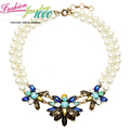 New Multi Color Stone Burst Flower Pearl Choker Necklace Fashion Chunky Statement Jewelry For Women Free