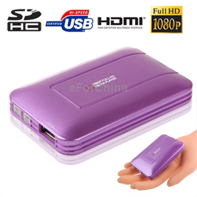 Purple Mini Full HD 1080P HDMI MultiMedia HDD player with SD/MMC/SDHC Card reader/HOST USB Function,External HDD,Size:85x55x10mm(China (Mainland))