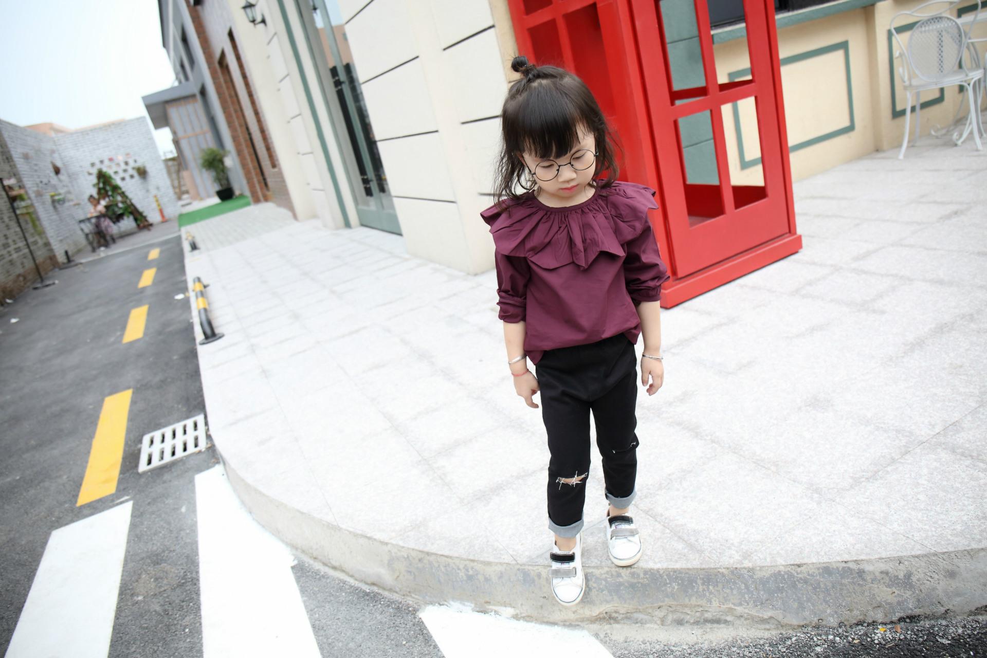 New Autumn Spring Children Burst Kids Girls Petal Collar Kids Clothing Shirts Cotton Purple
