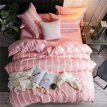 2019 new home bedding grey heart Duvet cover set super king bedclothes stripe flat sheet Adults bedding cotton set bed linen set(China)