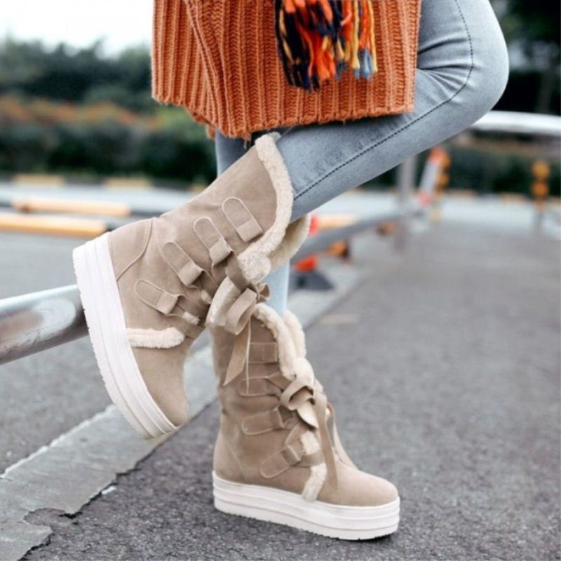 2016 women girl winter autumn warm snow boots increasing height wedge platform mid calf boots booties ski creepers plus size 43(China (Mainland))