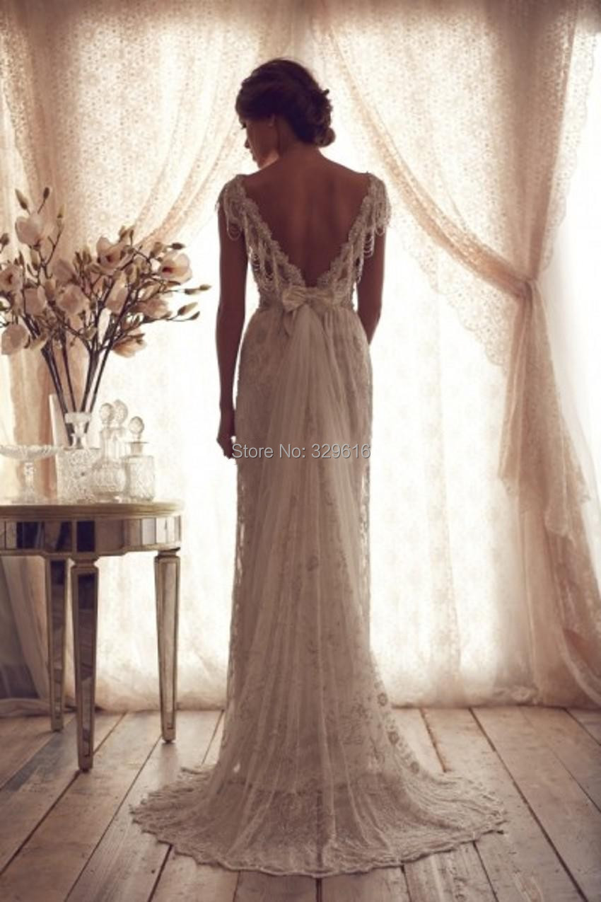 High quality 2014 vintage sheath wedding dresses sheer for Vintage backless wedding dresses