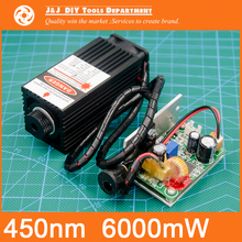 450 nm, 6000 mW 12V High Power Laser Module have TTL,Adjustable Focus Blue Laser module. DIY Laser engraver machine accessories.