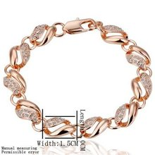 Circle Design 18K Gold Chain Solid Fill Crystal Stone Bracelet,Free Shipping(China (Mainland))