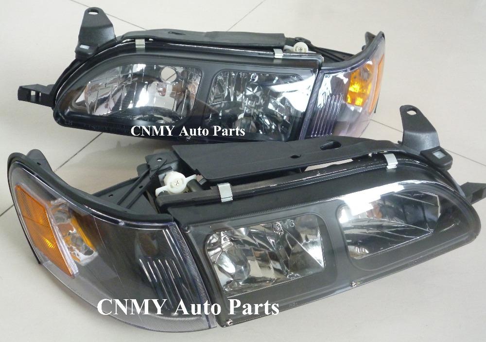 1Set 4Pcs Black Head lights+Parking Corner lamps for 1993-97 Toyota Corolla Sdn / Wagon AE101 AE102 U.S. model(China (Mainland))