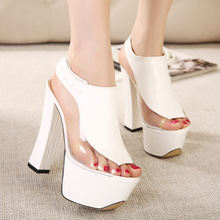 Women high heels pumps Sapato feminino High Heels platform sandals open toe fish mouth snake skin thick heel women shoes 2510(China (Mainland))