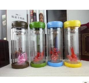 Cup transparent lid filter vacuum cup glass cup double layer glass glass(China (Mainland))