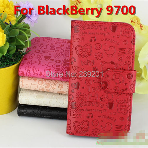 1pcs High Quality Lovely Luxury PU Leather Flip Cover Case For BlackBerry 9700 ,mobile cell phone cases (XMN01)(China (Mainland))