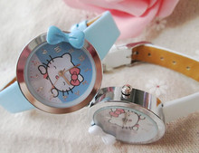 Retail Fashion Quartz Wristwatches, New Style Hello Kitty watch Kids Cartoon watch 5color  best Xmas gift