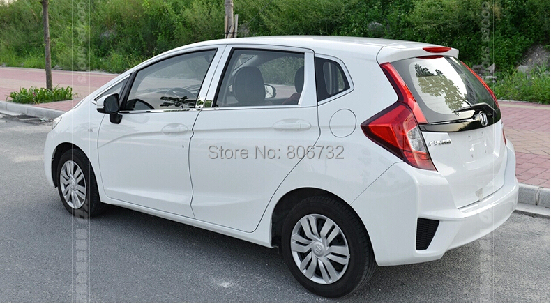 For Honda FIT JAZZ 2014 2015 Stainless window full Complete Around cover Trim