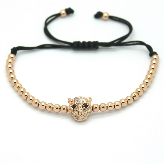 Famous Men Rose Gold Bracelets Pave Setting Black CZ Evil Eye Connector 4mm Round Beads Braiding