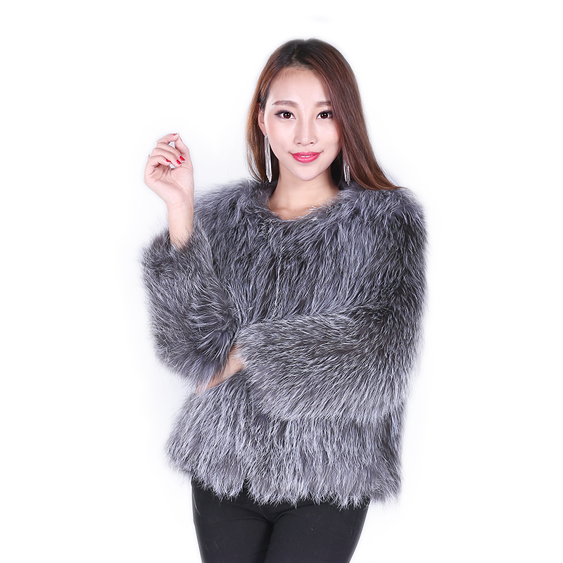 Real Fox Fur Coat Silver fur talk luxury russian fur coats women natural fox fur knitting coat(China (Mainland))