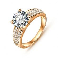 2014 New Arrival Simple Style Finger Ring 18K Gold/Platinum Plate Micro Inlay Swiss Cubic Zircon Lady  Ring Wholesale CRI0010