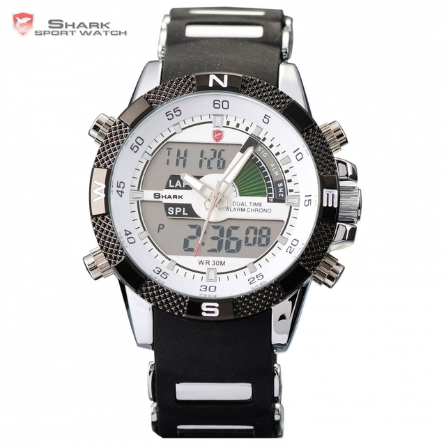 Digital SHARK Sport Watch Dual Time Date Day Alarm Silicone Strap Outdoor White Quartz Wrap Military Mens Gift Wristwatch /SH041
