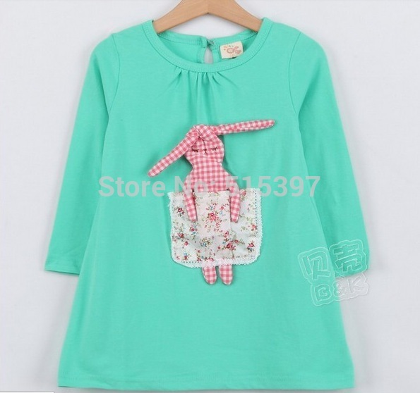 2016 spring autumn children's clothing baby girls long-sleeve dress green pink princess clothes KQZ19A02 - HeYi trade co., LTD store