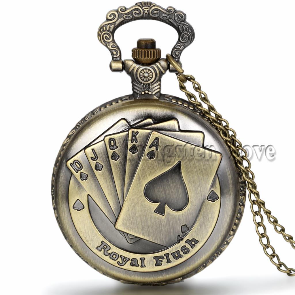 New Steampunk Vintage Archaize Bronze Playing Cards Royal Flush Pendant Quartz Pocket Watch Men Gift relogio de bolso(China (Mainland))
