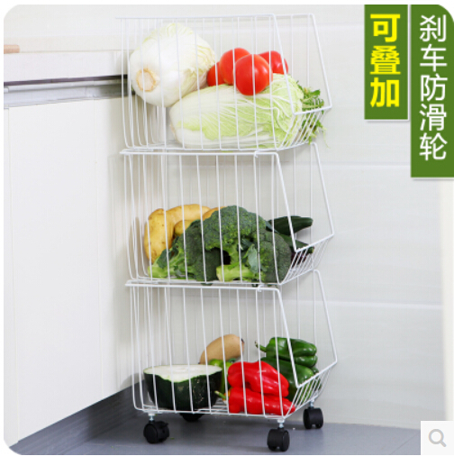 Multi-functional kitchen receive basket pulley of fruits and vegetables bathroom finishing receive basket, wrought iron shelf(China (Mainland))