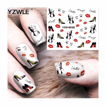 WUF 1 Sheet Watermark Sexy women Stickers Nail Art Water Transfer Tips Decals Beauty Temporary Tattoos Tools 8558