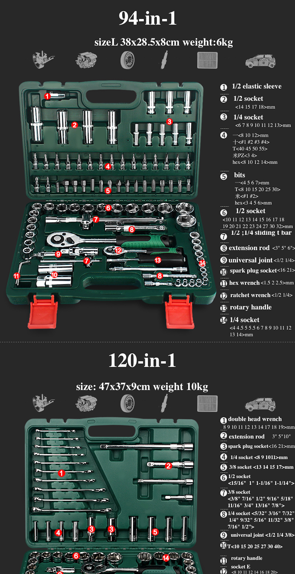 37-in-1 Combination Repairing Kit Handtool Set for Auto Motorcycles Generator Engine Tyre Socket Rachet Wrench Hand Tool