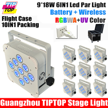 TIPTOP Stage Lighting 10Xlot RGBWA+UV Slim Led Par Light 9*18W 6in1 Leds Wireless Battery Type + Charging Flight Case 10 in 1(China (Mainland))
