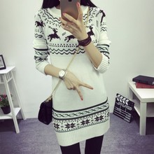 2015  Fashion Women Christmas Deer Ugly Sweater Dress O-Neck Winter Knitted Long Dress Tops Free Shipping