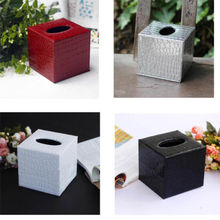Square black/red/silver/white/ PU Leather Tissue Box Cover Napkin Box Paper Holder Home Decor Xmas Gift 12*12*12(China (Mainland))
