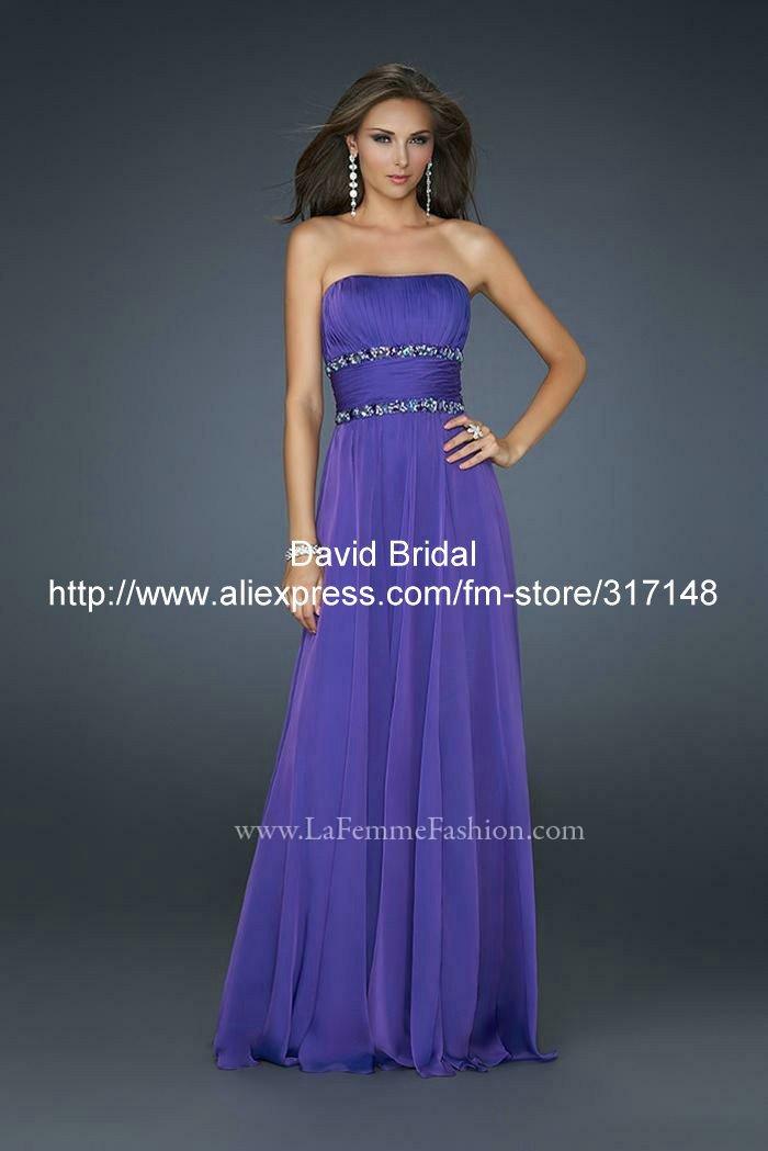 Fashion Long Prom Dresses Cheap -DA156 Beaded Strapless A Line Unique Long Chiffon Purple Prom Dresses Name Brand(China (Mainland))