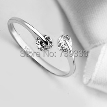 Real 925 Silver Rings rotatable double zircon adjustable Ring o minimalist Rings for women fashion Sterling Silver Jewelry(China (Mainland))