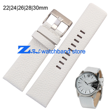 Leather strap watchband width 22|24|26|28|30mm white Wrist watch band Soft and comfortable accessories