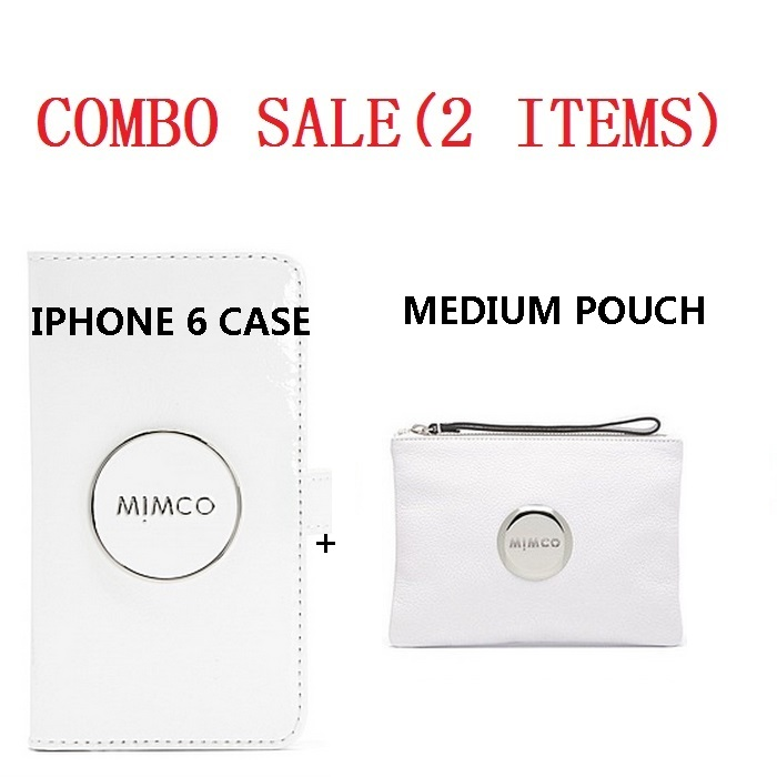 combo sale Mimco FLIP CASE FOR IPHONE 6 and white mim pouch with gunmetal buttom