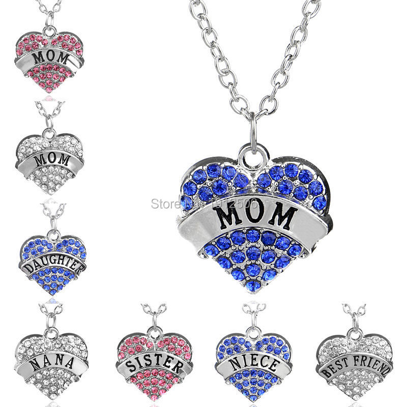 Silver Tone Pink Blue Clear Crystal Rhinestone Mom Sister Daughter Nana Hope Heart Word Necklace For Women Family Member Jewelry(China (Mainland))