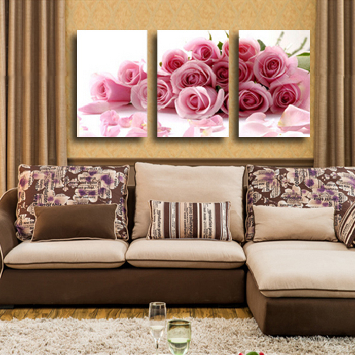 3 panel modern printed rose flower painting canvas cuadros for Room decor lazada