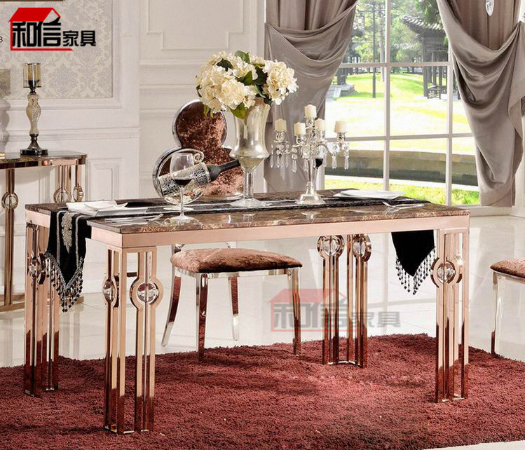 Rose Gold Stainless Steel Rectangular Marble Table IKEA Dining Table Small Ap