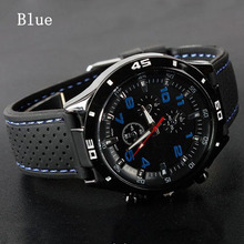 Free Shipping Mens Silicon Sports Wrist Watch Fashion Mens Racer Military Aviator Army Style Unisex 6 Colors Watch Cai0025