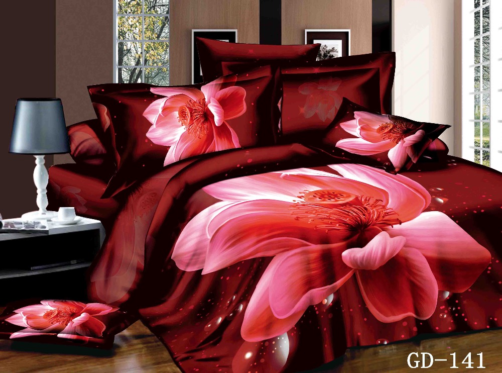 10 years Comforter with Filler 100% Cotton 3D Romantic Wedding bedding Super king bed covers and red rose comforter sets(China (Mainland))