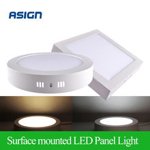 Surface Mounted LED Panel Light 6w 12w 18w Round/Square LED Ceiling Lights Free Shipping LED Downlight  AC85-265V SMD2835 CE UL(China (Mainland))