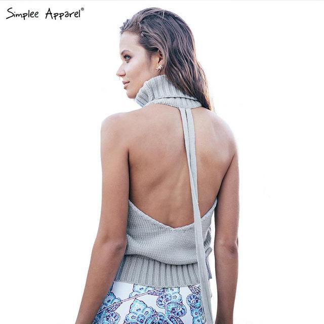 BeAvant спинки водолазка сексуальные вязаные пуловеры свитера женщины Осень трикотаж ...