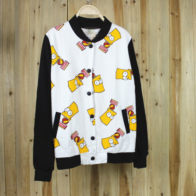 2014 cartoon baseball shirt clothes outerwear female long-sleeve o-neck girls cardigan jacket simpsons black white spliced new - Shopping spree gaga store