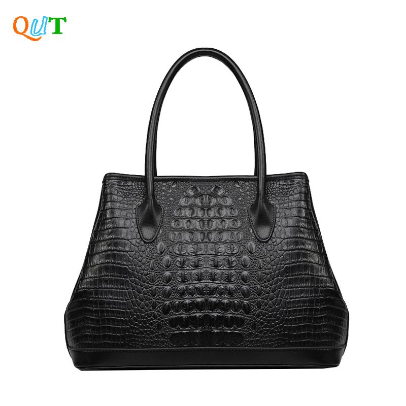 2015 new crocodile grain bags for women genuine leather messenger shoulder cross body bags ladies designer handbags purse tote(China (Mainland))