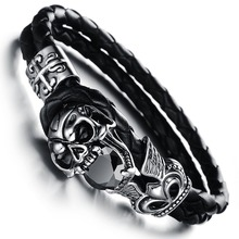 Wholesale NEW Fashion jewelry Skull Stainless Steel Black Japan Kito Genuine leather Personality Men Bracelet male Bangles CH846