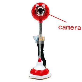 5pcs/lot USB Crystal Ball Style HD Webcam Red-C00210