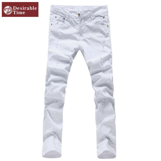 Мужчины белый рваные брюки размер 28 - 36 2016 новинка дизайнер тонкий подходит мужчина ...
