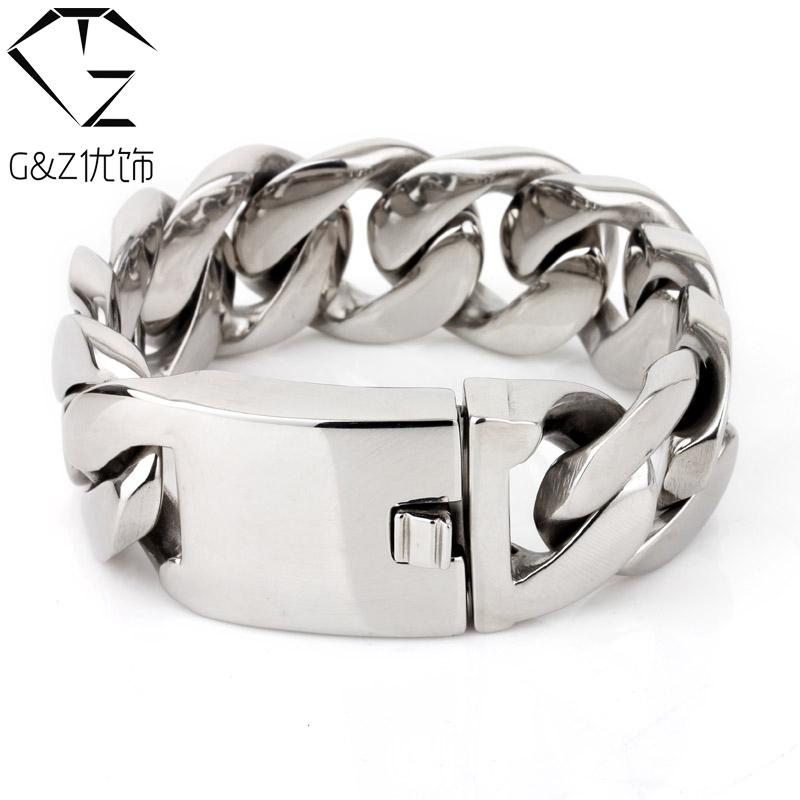 25mm width 316L Stainless Steel Bracelet Men Jewelry G&amp;Z 2015 new Fashion big Chain Friar strass Mens Bracelets &amp; Bangles KB007<br><br>Aliexpress