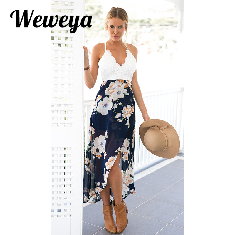 Weweya Summer Beach Dress Women Lace Floral Print Patchwork Dresses Sexy V Neck Backless Long Dress Vestidos Mujer(China (Mainland))
