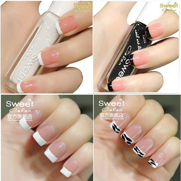 Sweet Color green nail polish classic French manicure supplies stay pen series Pure white&Pure black Free shipping(China (Mainland))