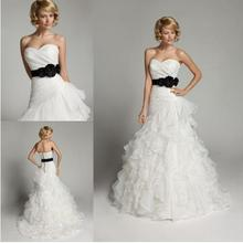 Don's New Sexy Mermaid Wedding Dresses Sweetheart White&Black Court Train Pleats Flowers Backless Elegant Bridal Gowns(China (Mainland))