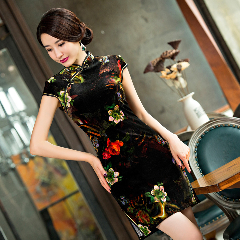Clearance Embroidery cheongsam Women dress Evening Dress velvet vestidos chinese dress chi-pao wedding Dress Size:S-3XLОдежда и ак�е��уары<br><br><br>Aliexpress